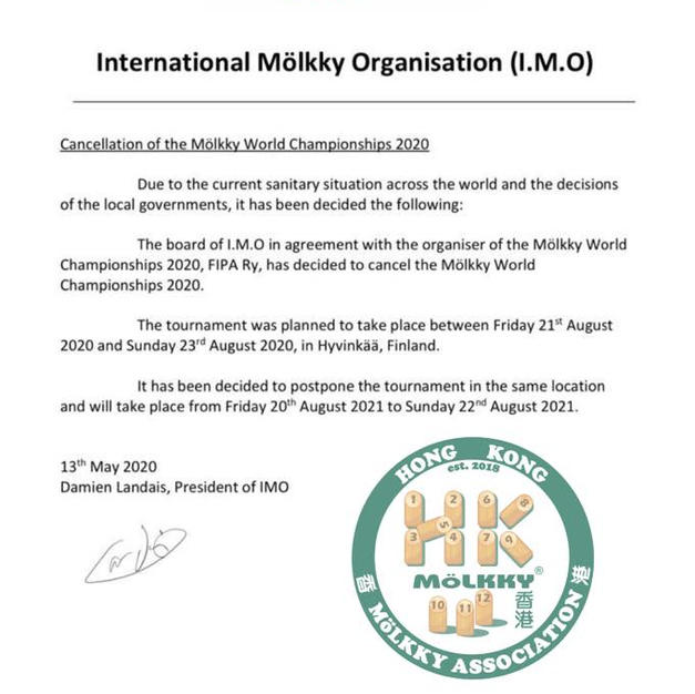 Mölkky World Championship 2020 將會取消