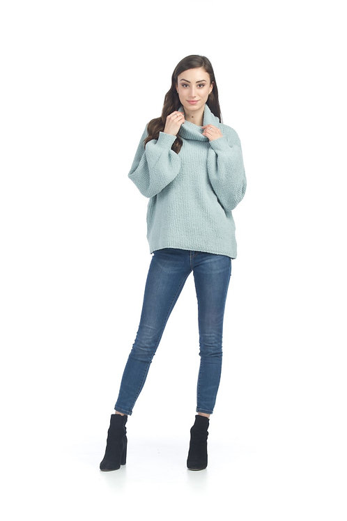 Chenille Knit Cowl Neck Sweater with Bishop Sleeves