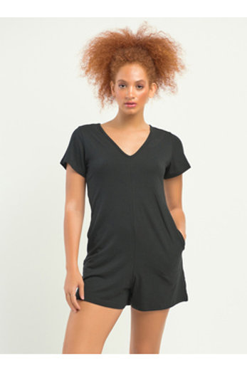 Short Sleeved Black Romper