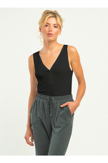 Henley Ribbed Body Suit