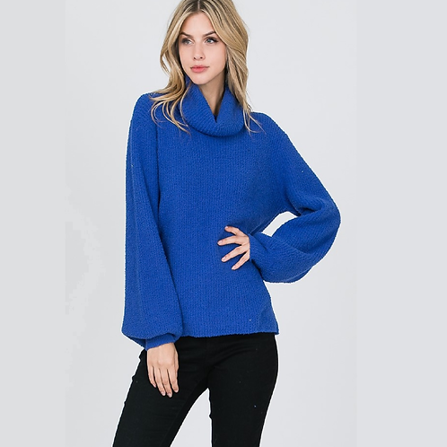 Royal Knit Cowl Neck Sweater with Bishop Sleeves