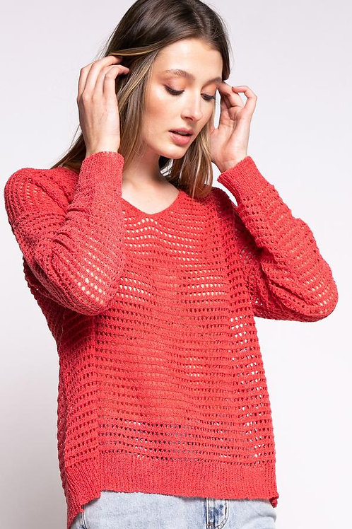 The Gretta Sweater-Red Coral