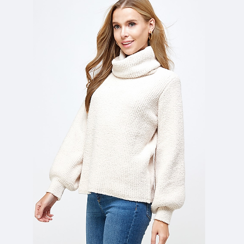 Cream Knit Cowl Neck Sweater with Bishop Sleeves
