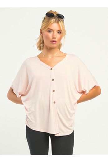 Front Knit Top- Powder Pink