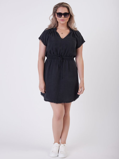 Frayed Hem Dress- Black