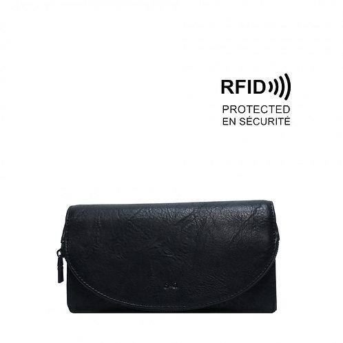 Gem Flap Long Wallet Black