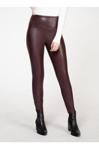 High Waisted Faux Leather Legging l Bordeaux