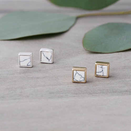 Boxy Studs-howlite GOLD OR SILVER