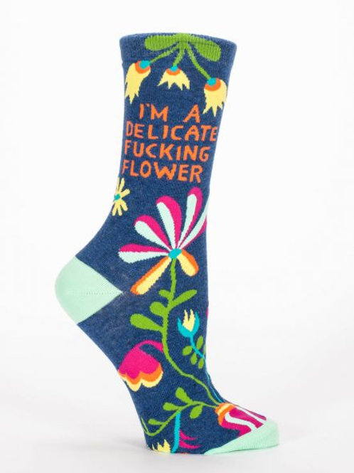 I'M A DELICATE FUCKING FLOWER W-CREW SOCKS