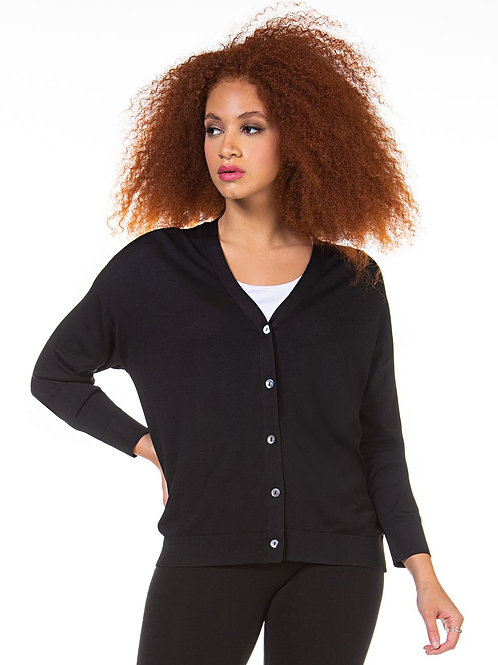 Button Front Cardigan-Black