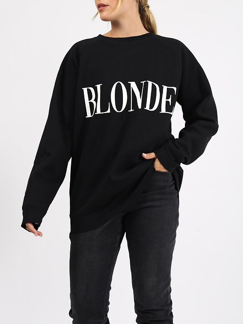 "The ""BLONDE"" Big Sister Crew Neck Sweatshirt | Black & Cream"