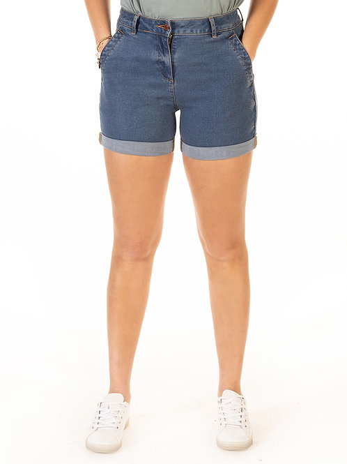 Blue Wash Denim Mom Short