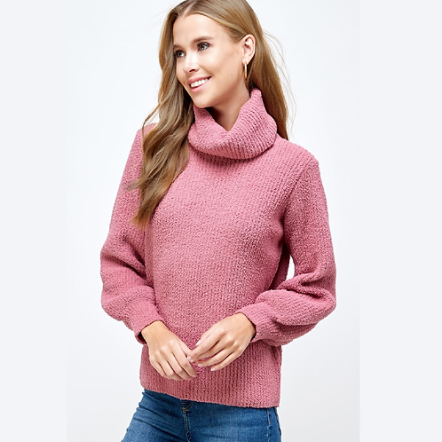 Rose Knit Cowl Neck Sweater with Bishop Sleev