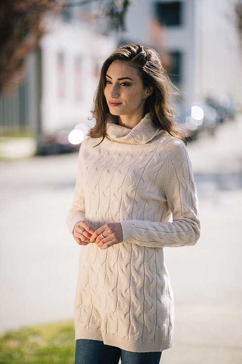 Cream Cable Knit Dress