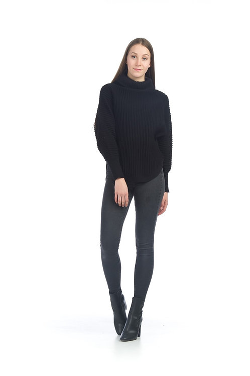 Ribbed Black Sweater w/ Cowl Neck