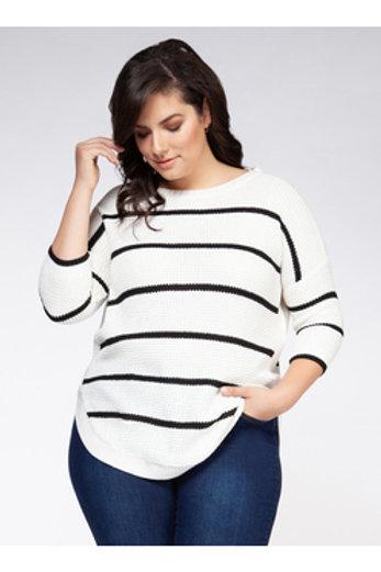White & Black Stripe Sweater