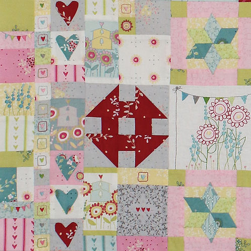 Hearts and Happy Flowers Quilt - Block 4