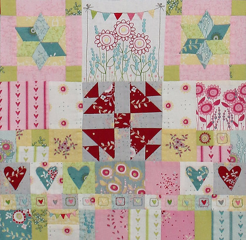 Hearts and Happy Flowers Quilt - Block 8
