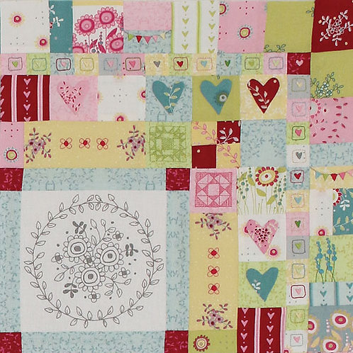 Hearts and Happy Flowers Quilt - Block 3