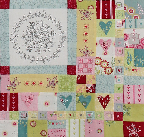 Hearts and Happy Flowers Quilt- Block 9