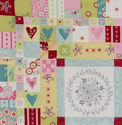 Hearts and Happy Flowers Quilt - Block 1