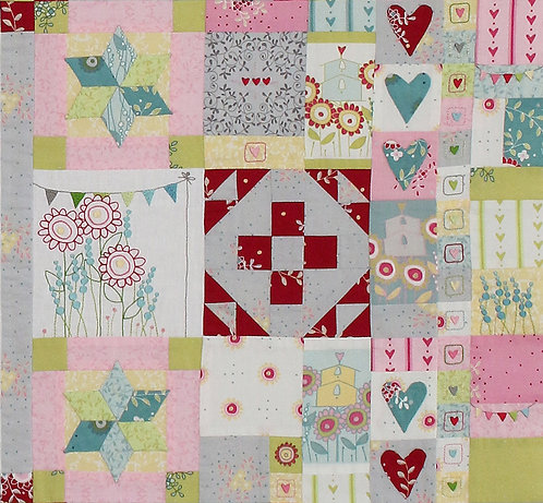Hearts and Happy Flowers Quilt - Block 6