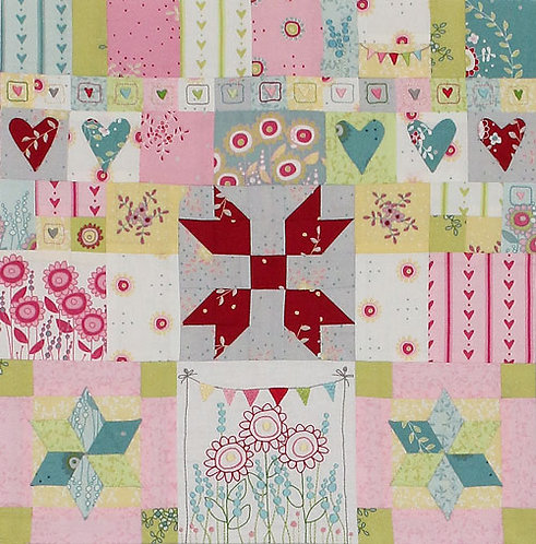 Hearts and Happy Flowers Quilt - Block 2