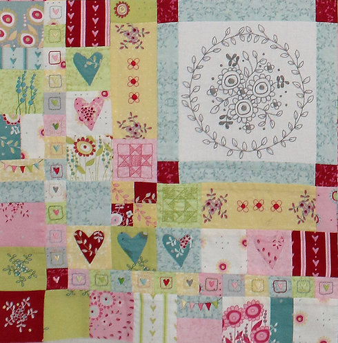 Hearts and Happy Flowers Quilt - Block 7