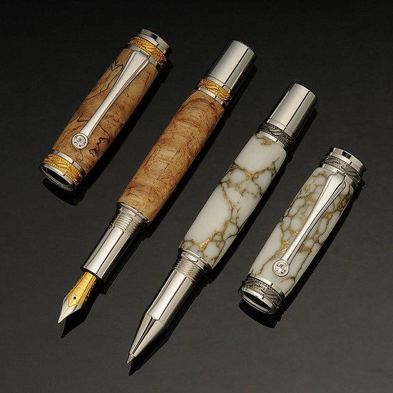 Parure royale en bois précieux et marbre, or, rhodium, cristaux Swarovski - P2