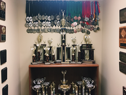 Before walking into the BCFU lounge, students pass the impressive amount of trophies that Berry College has won in speech and debate.
