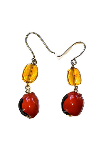 Mayan Amber and Jungle seed earrings