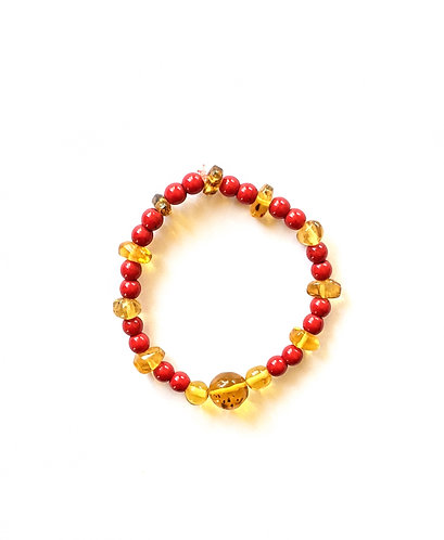 Mayan Amber and red coral bracelet