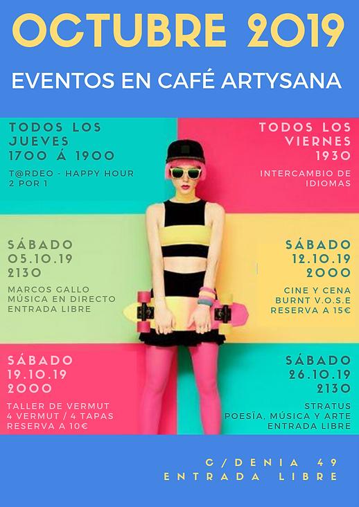 Octubre 2019 Eventos en Café ArtySana.pn