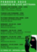 Febrero 2020 Eventos en Café ArtySana.pn