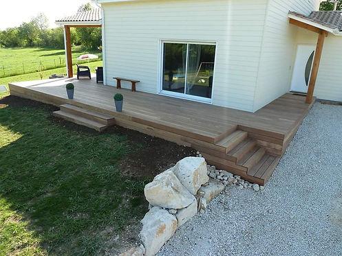 Fabrication  et conception d'une terrasse en bois exotique en Ile de France