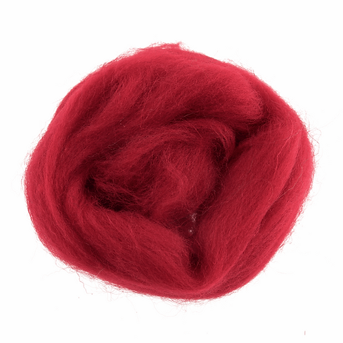Natural Wool Roving: 10g: Cranberry