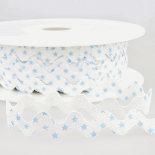 Ribbon Ric Rac Stars - White/Blue 15mm