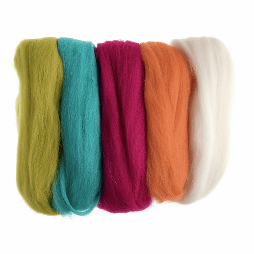 Natural Wool Roving: 50g: Assorted Neon