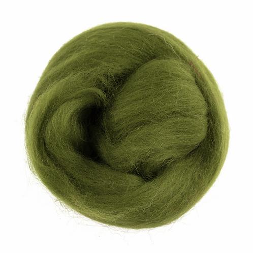 Natural Wool Roving: 10g: Green