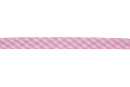Bias Binding - 15mm Pink Gingham