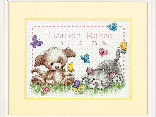 Counted Cross Stitch Kit: Birth Record: Pet Friends