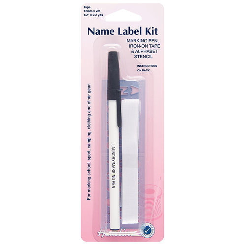 Name Label Kit: Iron on tape with Pen and Stencil