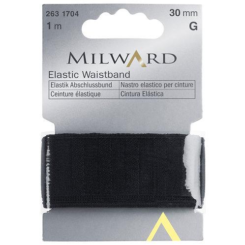Elastic: Waistband Black - 30mm x 1m