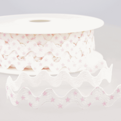 Ribbon Ric Rac Stars - White/Pink 15mm
