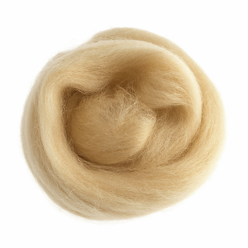 Natural Wool Roving: 10g: Cream