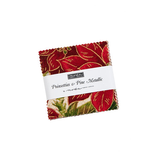 Charm Pack - Poinsettias & Pine
