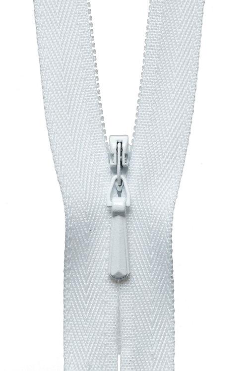 Concealed Zip: 23cm: White