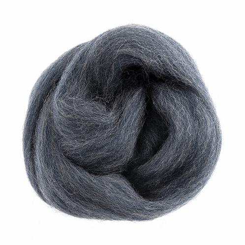 Natural Wool Roving: 10g: Melange Blue