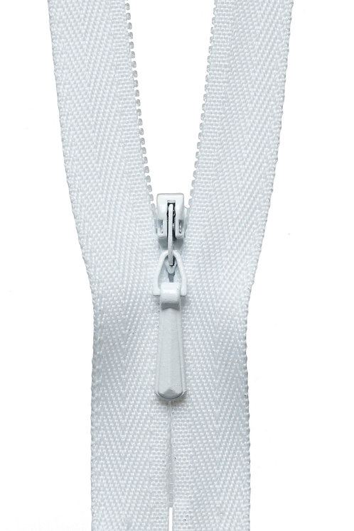 Concealed Zip: 20cm: White