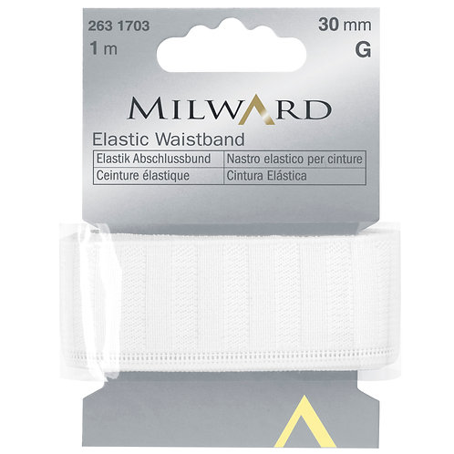 Elastic: Waistband White - 30mm x 1m